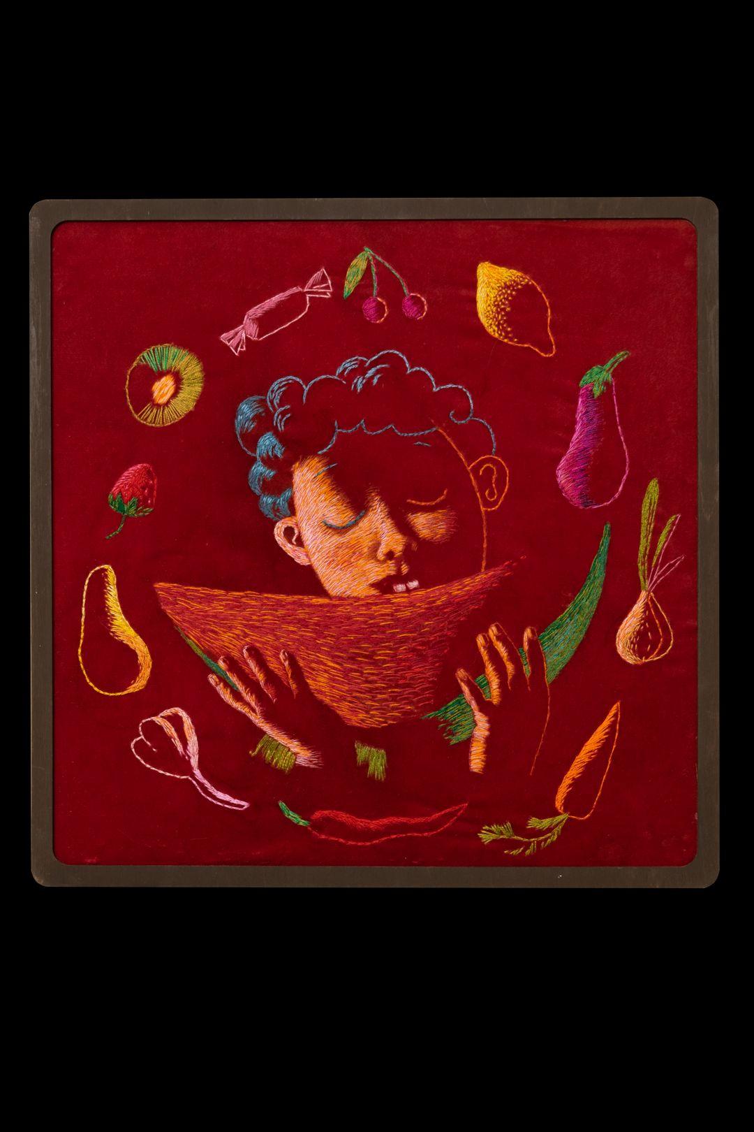 <strong>Про органы чувств</strong><br /><p>Вера Петровская<br /> Детская книга, вышивка<br /> Мастерская книжной графики<br /> Руководитель Клим Ли</p>