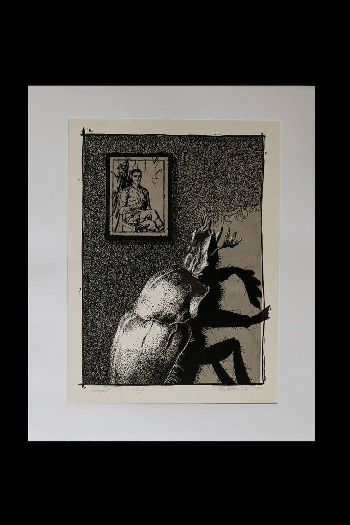 <strong>Иллюстрации к книге Ф.Кафка «Превращение»</strong><br /><p>Ольга Балодис<br /> Линогравюра<br /> Мастерская станковой графики<br /> Руководитель Клим Ли</p>